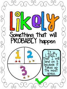 Looks super cute! Kindergarten Math Activities, Math Resources, Teaching Math, Teaching Ideas, Third Grade Math, Grade 1, Probability Games, Mat Leave, Math Coach