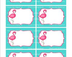 Pink Flamingo Printable Labels or Buffet Cards - Instant download