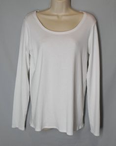 * EILEEN FISHER size L large ORGANIC COTTON white long sleeve stretch knit top