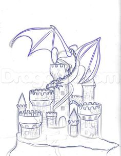 how to draw a dragon and castle step 5 - Have you thought of using a pattern like this to quill a fantasy castle and dragon? Castle Drawing, Castle Painting, Castle Sketch, Fantasy Drawings, Fantasy Art, Burg Tattoo, Dragons Tattoo, Castle Tattoo, Dragon Sketch