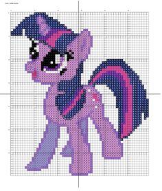MLP Twilight Sparkle pattern by Stinnen on deviantART Cross Stitch Horse, Unicorn Cross Stitch Pattern, Cross Stitch Charts, Cross Stitch Patterns, Cross Stitching, Cross Stitch Embroidery, Embroidery Patterns, Beading Patterns, Crochet Unicorn Blanket