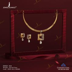 Casting Necklace Set gms) - Fancy Jewellery for Women by Jewelegance Gold Chain Design, Gold Ring Designs, Gold Bangles Design, Gold Jewelry Simple, Gold Wedding Jewelry, Bridal Jewelry, Fine Jewelry, Indian Jewelry Sets, Gold Rings Jewelry