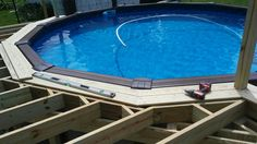 Deck ideas Above Ground Pool Landscaping, Above Ground Pool Decks, In Ground Pools, Outdoor Baths, Outdoor Pool, Outdoor Wooden Swing, Pool Deck Plans, Pool Porch, Pool Care