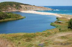 Řeka Veleka, vlévající se do moře u města Sinemorec