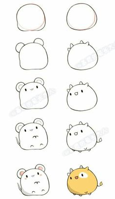 How to draw mouse and cow - kawaii version, Easy Doodles Drawings, Easy Doodle Art, Cute Cartoon Drawings, Cute Easy Drawings, Cute Kawaii Drawings, Simple Doodles, Cute Animal Drawings, Art Drawings Sketches, Doodles Kawaii