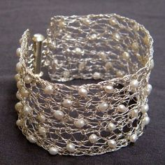 Crochet Sterling Silver Wire and Pearls Queen Bracelet by Galit, $90.00