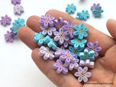 Flowers Blue Purple Forget Me Not Table Confetti Dinner Party Ornaments Baby Bridal Shower Party Decorations Gift Fillers Paper Quilling Art