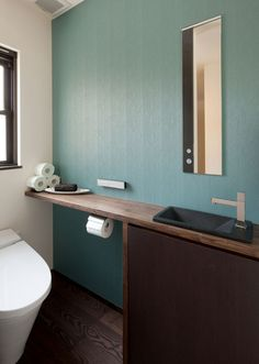 Japanese-Style Home located in Minoh City, Osaka. Toilet Sink, Toilet Room, New Toilet, Surf House, Modern Style Homes, Toilet Design, Japanese House, Japanese Style, Home And Deco