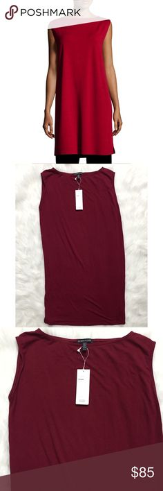 Eileen Fisher Viscose Jersey Bateau Neck Dress Brand new with tags, size XS. This Eileen Fisher Viscose Jersey Bateau Neck Shift Dress comes in the gorgeous color China Red. From desk to dinner, this effortless shift dress from Eileen Fisher will keep you going in top-notch style. Pullover style. Hits at knee. Boat neckline; shift silhouette. Very soft, comfortable and travel friendly! Made of 92% Viscose and 8% Spandex. Retails for $178! Eileen Fisher Dresses