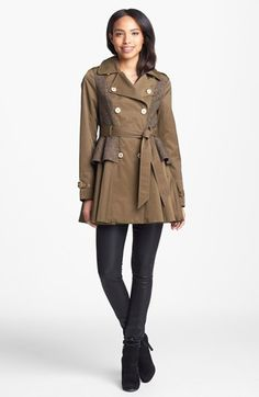 Steve Madden Tweed Panel Peplum Trench Coat available at #Nordstrom. Love Peplum! Great for the Fall & Winter. Under $100. Goes great with a blouse, Stuart Weitzman Boots & a Large Tote.