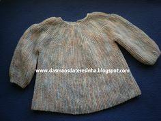 Das Mãos da Teresinha: Casaco de tricô para bebé tam. 1 a 4 meses