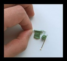 Miniature Knitting. Thread and pins... How cute to put on a card or scrap book or even on the Christmas tree!