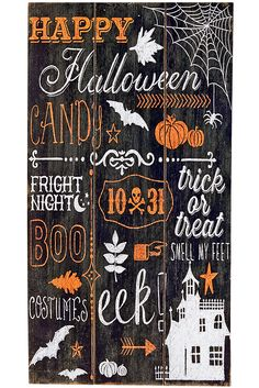 With its familiar Halloween images, festive hues and spooky catch phrases, Pier 1's wooden chalkboard sign is a great way to welcome guests to your next Halloween soiree. Smelling feet is entirely optional.