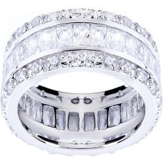 Palm Beach Jewelry PalmBeach 9.34 TCW Emerald-Cut Cubic Zirconia... ($73) ❤ liked on Polyvore featuring jewelry, rings, white, platinum ring, cz rings, emerald cut cubic zirconia ring, platinum jewelry and palm beach jewelry
