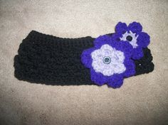 Crochet headband/ear warmer with removable flowers by SiennaSews, $17.99