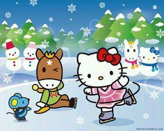 Sanrio Wallpaper, Hello Kitty Wallpaper, Hello Kitty Christmas, Christmas Cats, Hello Kitty Tattoos, Baby Friends, Hello Kitty Pictures, Christmas Cartoons, Sanrio Characters