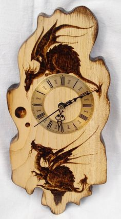 pyrography dragons on clock wood burning