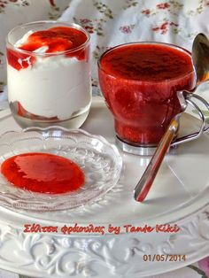 Srawberry sauce by Tante Kiki Greek Recipes, Panna Cotta, Strawberry, Cooking Recipes, Pudding, Sweets, Ethnic Recipes, Desserts, Food