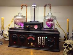 Here are a few pictures of i-Zombie Productions' newest addition to our Dr. Frankenstein's Laboratory Equipment Props. This is the 4th piece of equipment you can get to create your own movie quality laboratory scene. The unit is called the Organ Re-animation Device. The plasma unit creates the enormous amount of electrical energy necessary to reanimate the organs. The heart and brain are kept in stasis in the 1 gallon specimen jars which are constantly recirculating reanimation fluids as…