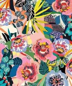 Summer Garden Wallpaper (Two Roll Set) - Sample Modern Floral Wallpaper, Bold Wallpaper, Tropical Wallpaper, Botanical Wallpaper, Colorful Wallpaper, Flower Wallpaper, Floral Wallpapers, Geometric Wallpaper Iphone, Floral Wallpaper Iphone