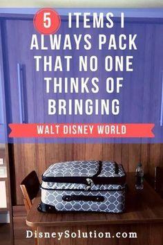 5 Items I Always Pack That No One Thinks Of Bringing to Walt Disney World Disney Solution Disney World Packing, Disney Travel Agents, Disney World Secrets, Walt Disney World Vacations, Run Disney, Disney World Tips And Tricks, Disney World Trip, Disney Tips, Disney Cruise Line