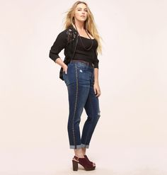 c2d17236fd37 Get studded in these hot and trendy plus size Side Stud Destructed Jean  available in sizes