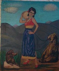 RATIER Maurice HST 1968   la Gitane a l ours et au singe  salon des indépendants