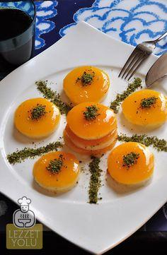 Portakallı Muhallebi Jelly Recipes, Fruit Recipes, Dessert Recipes, Turkish Recipes, Italian Recipes, Ethnic Recipes, Turkish Sweets, Turkish Kitchen, Fish And Meat