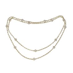 Diamond Chain Necklace | Diamond Chain and Flower station 36'' Necklace