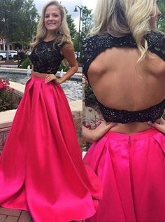 Two Piece Crew Sweep Train Open Back Fuchsia Satin Prom Dress with Appliques Beading - Special Occasion Dresses - US$ 148.99 | Simple-dress.com