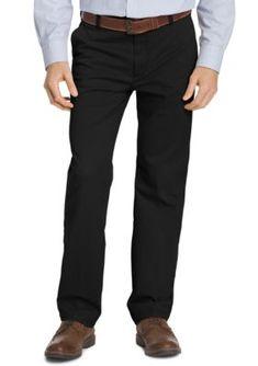 IZOD Black Performance Stretch Classic Fit Flat Front Pants