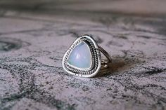 Handmade Silver Ring with Triangle Opal by dunkwoojewelry on Etsy