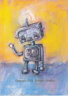 Hi There Robot 5x7 print matted to fit 8x10 by JennyDaleDesigns, $23.00