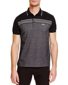 Boss Green Paddy Jacquard Stripe Regular Fit Polo
