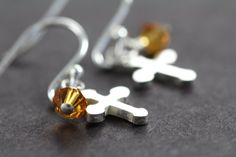 Cross Earrings with Birthstone Crystals, First Communion Gift, Confirmation Gifts for Girls, 925 Sterling Silver