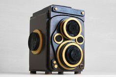 二眼レフカメラボックス NC-7(小物入れ)ブラウン Wooden Camera