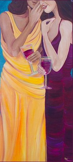 women and wine art
