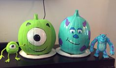 Monsters Inc Pumpkins. Sully and Mike. My sister is so talented! Pixar Halloween fun!