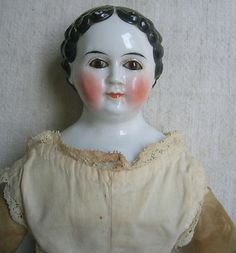 19th C. VERY PRRETTY CHINA WITH BROWN GLASS EYES / 16 1/2 INCHES NO RESERVE
