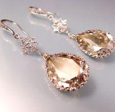 Swarovski silver shade teardrop foiled pendant by DesignByKara