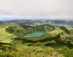 Panoramic landscape from Azores lagoons, Sao Miguel, Portugal