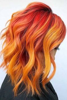 Red & Orange ❤ Want to spice up your hair with red highlights? We will show you how to do it stylishly: dark copper highlights in brown hair, subtle auburn accents for blonde bases, burgundy ombre for brunette colors, and more ideas are here! Vivid Hair Color, Bright Red Hair, Hair Dye Colors, Cool Hair Color, Orange Ombre Hair, Ombre Hair Color, Magenta Hair, Violet Hair, Burgundy Hair