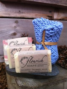 Natural Soap Three Sample Pack and Free Handmade by FlourishSoaps