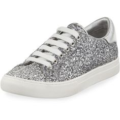 Marc Jacobs Empire Glitter Low-Top Lace-Up Sneaker ($250) ❤ liked on Polyvore featuring shoes, sneakers, silver, round toe lace up flats, leather sneakers, lace up sneakers, glitter flats and glitter platform sneakers
