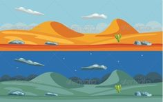 Night and day desert landscape Package includes the pre-rendered .JPG & .EPS file, Vectors are fully scalable to any resolution.