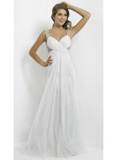 A line V Neck Chiffon with Beadings White Prom Dress