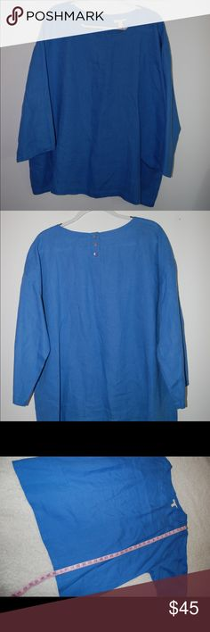 Eileen Fisher Blue Linen Tunic MSRP 188 Excellent Condition. Measurements in photos. Size large. Eileen Fisher Tops Tees - Long Sleeve