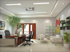 Modern false ceiling designs for office and residence with white sofa