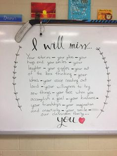 Classroom Classroom management Elementary schools School classroom grade classroom Elementary education - I will miss you all - Future Classroom, School Classroom, Classroom Decor, Classroom Quotes, Elementary Education, Upper Elementary, Elementary Teacher, Teacher Hacks, Teacher Gifts