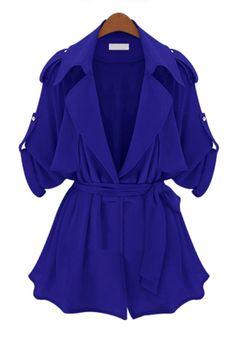 Sapphire Blue Notch Lapel Thin Chiffon Trench Coat
